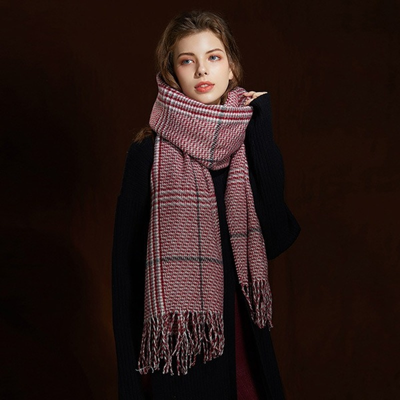 2019 New Autumn and Winter Women Classic England Check Cashmere Tassel Scarf Shawl  Plaid Fashion Adult