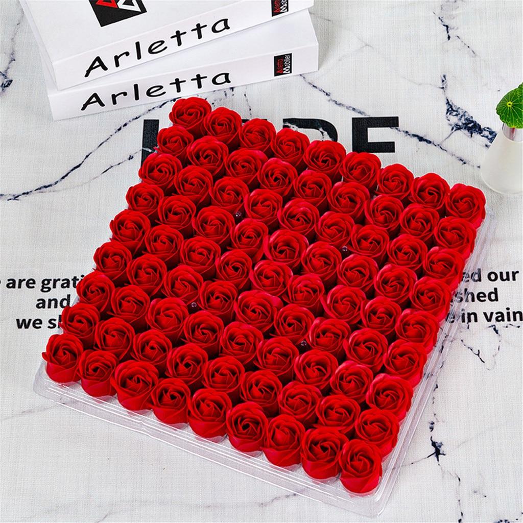 Цветочная головка для мыла, трехслойная, без основания, вечная роза, имитация розы, 1 коробка искусственных цветов, 81 шт., G3