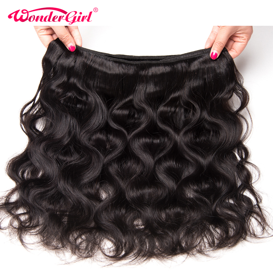 Wonder girl Brazilian Body Wave 3 Bundles With Frontal Ear To Ear 13x4 Lace Frontal Closure With Bundles Remy Human Hair