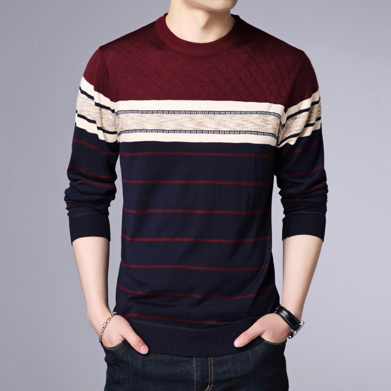 2020 Autumn Winter New Fashion O-Neck Pullover Sweater Men Brand Clothing Cashmere Wool Sweater Men Casual Striped Sweaters M011