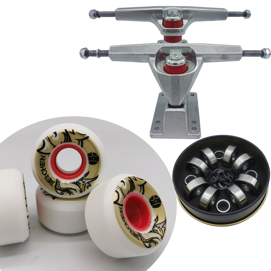 Good Quality Dish 6.25inch Surf Skate Longboard Trucks Plus High Rebound Longboard Wheels Plus ABEC-11 Skateboard Bearings