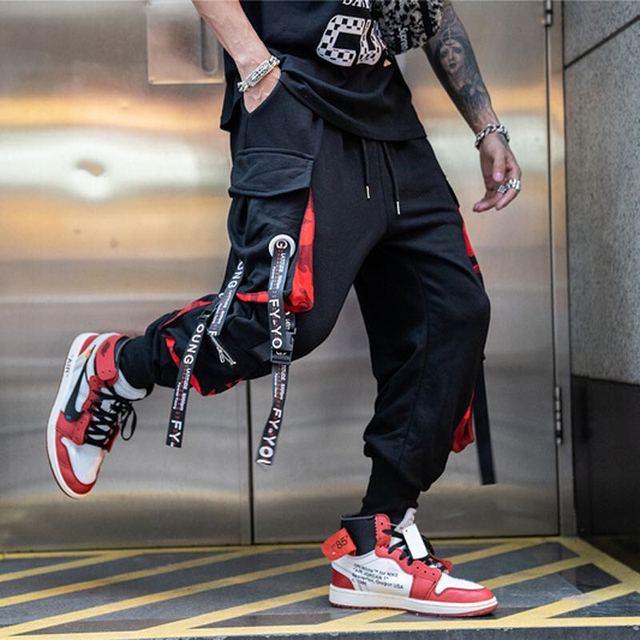 Calças masculinas de bolso solto hiphop nova moda corredores calças masculinas hombre masculino casual moda carga 2