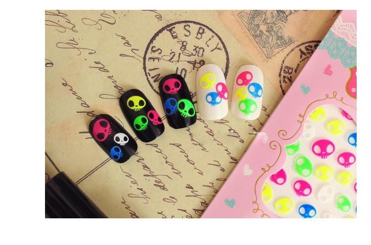 Manicure Fluorescent Harajuku Cross Lips Tongue Handwritten English Lettered Word Flower Stickers Nail Polish Stickers QJ Series