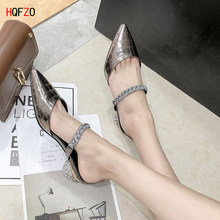 HQFZO Pointed Toe Pu Leather Women Sandals Mules Chunky Heels Slippers Bling Clear Summer Shoes 2020 WOmen Sandals(China)