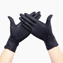 цена на 100Pcs oil-proof acid and alkali-resistant nitrile black linen gloves oil-resistant disposable nitrile rubber