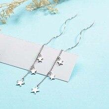 1PC Drop Earring Jewelry Gift Fashion Silver Color Chain Earrings Star Wave Long Tassel For Women Bohemian Geometric