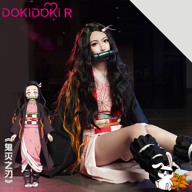 DokiDoki-R Anime Demon Slayer: Kimetsu No Yaiba Cosplay Kamado Nezuko Costume Women Kimono Kamado Nezuko Anime Cosplay Costume