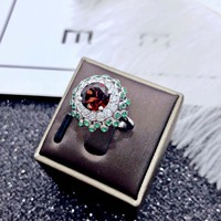 Dazz S925 Sliver Luxury Cubic Zirconia Colorful Dubai Ring Ladies Bride Wedding Engagement Jewelry Femmale Accessories Gift 2019