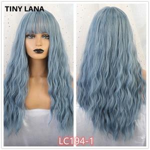 Image 1 - Pequena lana ombre loira preto marrom cosplay lolita perucas com franja longo ondulado peruca de cabelo sintético para as mulheres fibra de alta temperatura