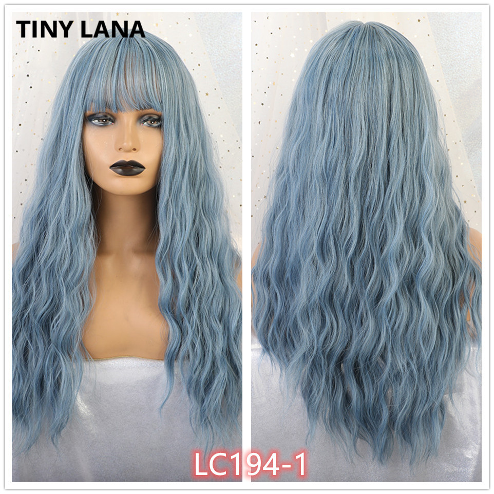 TINY LANA Ombre Blonde Black Brown Cosplay Lolita Wigs With Bangs Long Wavy Synthetic Hair Wig For Women High Temperature Fiber