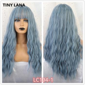TINY LANA Ombre blond czarny brązowy Cosplay Lolita peruki z grzywką długie faliste włosy syntetyczne peruka dla kobiet wysokiej temperatury włókna tanie i dobre opinie Falista 1 sztuka tylko Średnia wielkość