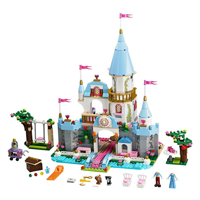 Princess Cinderella Elsa Anna Mermaid Ariel Castle Building Blocks Figure Girl Friends Bricks Toys