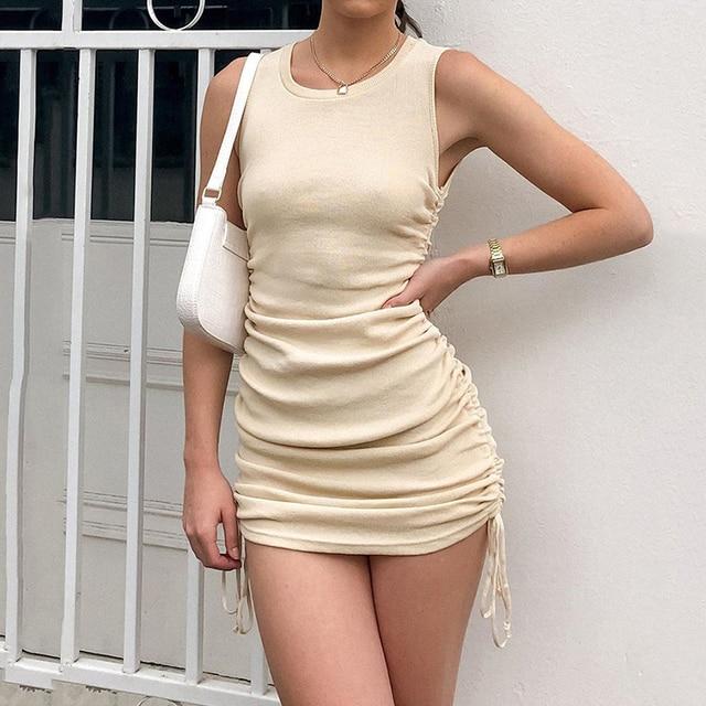 Elegant Summer Sexy Sleeveless  O-Neck Slim Dress 3