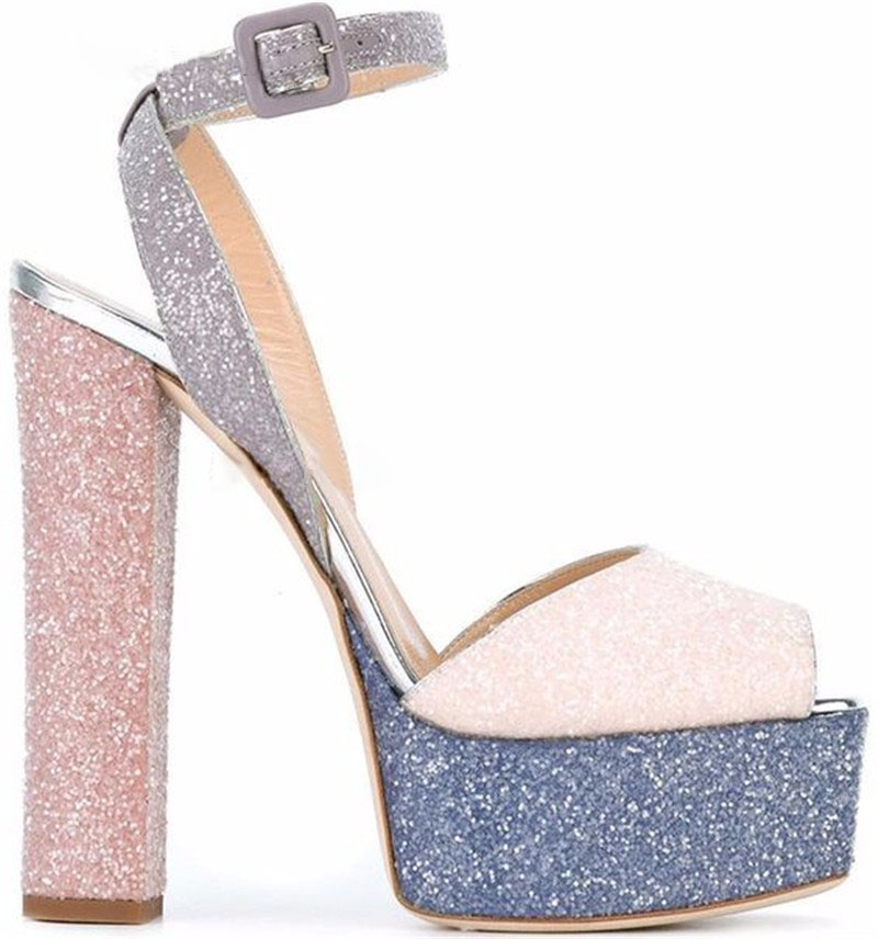 Charming Women Peep Toe Sequined High Platform Sandals Ankle Strap Chunky Super High Heels Sandals Wedding Shoes Club Shoes