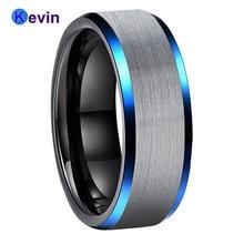 Черный обручальное кольцо Для мужчин женщин Вольфрам синий скошенные