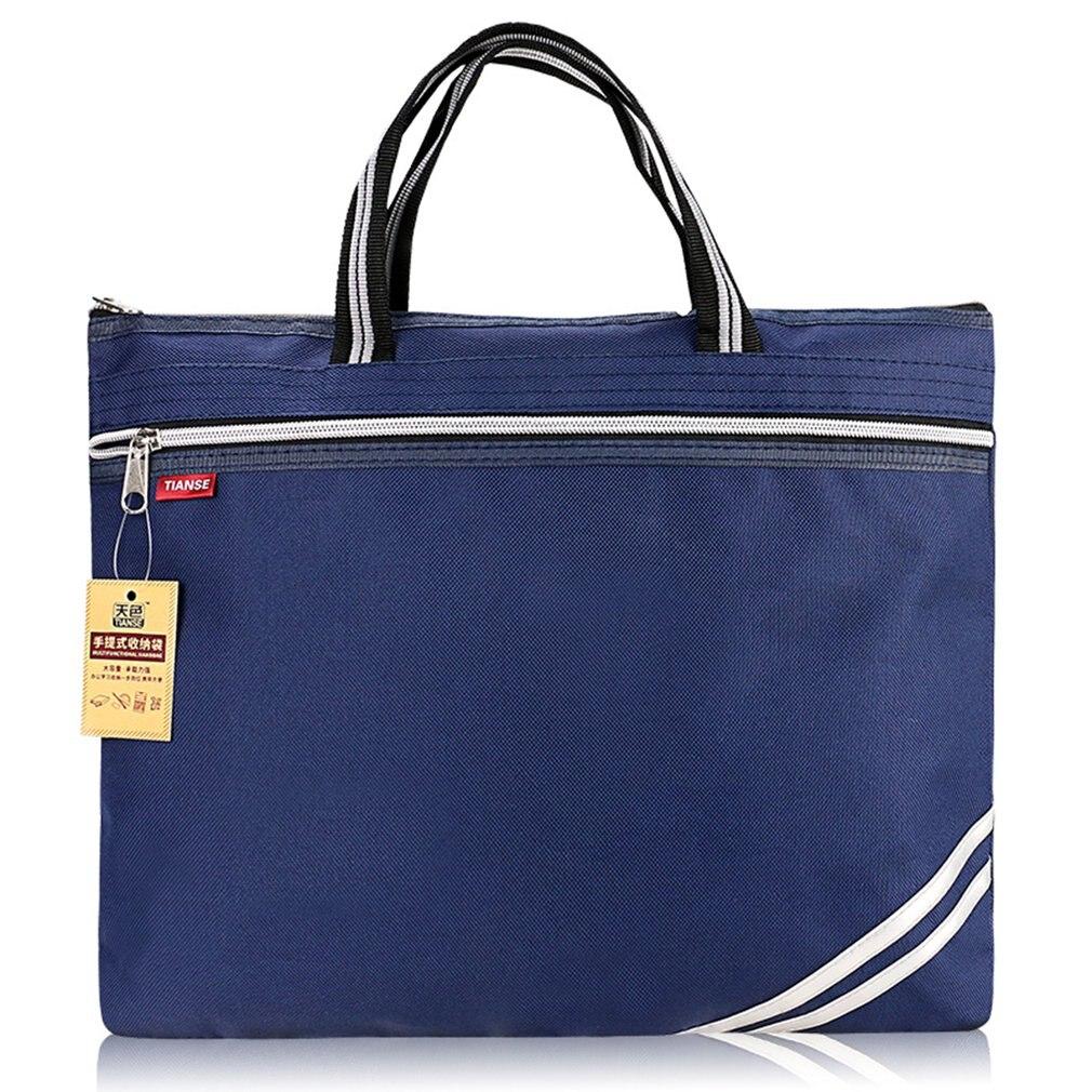 Hot TIANSE Oxford Cloth Briefcase Business Bag Men Ladies Portable Zipper PU Leather File Bag Double Deck Data Package