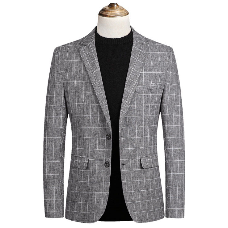 New Fashion Autumn Plaid Men Suit High Quality Mens Suit Jacket Business Casual Suit Slim Fit Terno Masculino Blazer