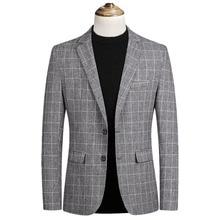 חדש אופנה סתיו משובץ חליפת גברים באיכות גבוהה mens עסקי מקטורן חליפה מקרית Slim Fit terno masculino בליזר