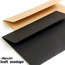 20 шт./партия, черный, белый, красный, крафт-бумага, конверты, винтажный Европейский стиль, конверт для визиток, приглашения