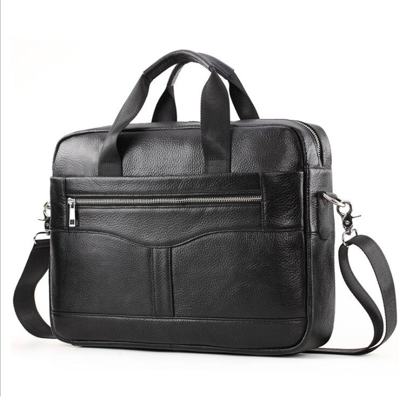 Genuine Leather Men's Briefcase Bag Men's Laptop Bag Business Tote For Document Office Portable Laptop Shoulder Bag 14inch