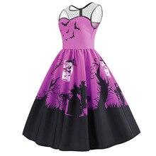 halloween women dress pumpkin print sleeveless clothes plus size woman print  fall 2018 plus size dresses vintage plus size halloween cat bat pumpkin print dress