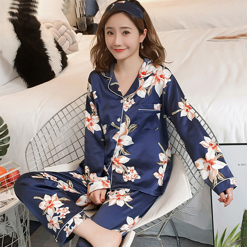 Plus Size 3XL 4XL Eye Mask Women Pajama Set With Flower Print Pijama Mujer 2019 Autumn Long Sleeve Faux Silk Nighties Sleepwear