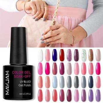8ml MAYJAM Nail Gel Summer Color Series Semi Permanent Varnish Soak Off UV Gel Nail Polish Lacquer Top Base Coat Nail Art Design 1