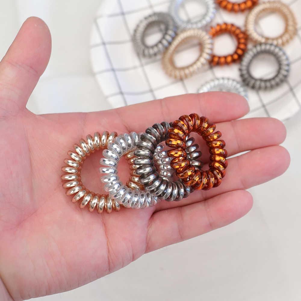 10 шт./лот, модные блестящие металлические цветные женские резинки для волос, телефонная линия, резиновые ленты эластичные резинки для волос, веревка для девочек