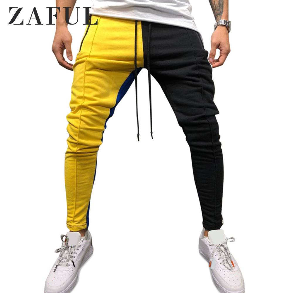 ZAFUL Color Block Pockets Drawstring Slim Fit Track Pant Casual Color Matching Design Sports Pants Hiphop Style Men'S Long Pants