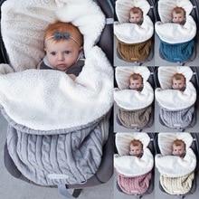 Новинка, зимний теплый вязаный спальный мешок для новорожденных, спальный мешок для новорожденных