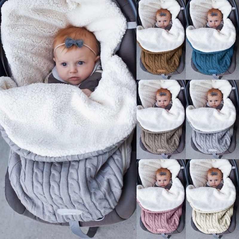 2019 Новый Зимний Теплый Пеленальный вязаный детский спальный мешок 2019 для новорожденного ребенка горячая лента детская коляска спальный мешок