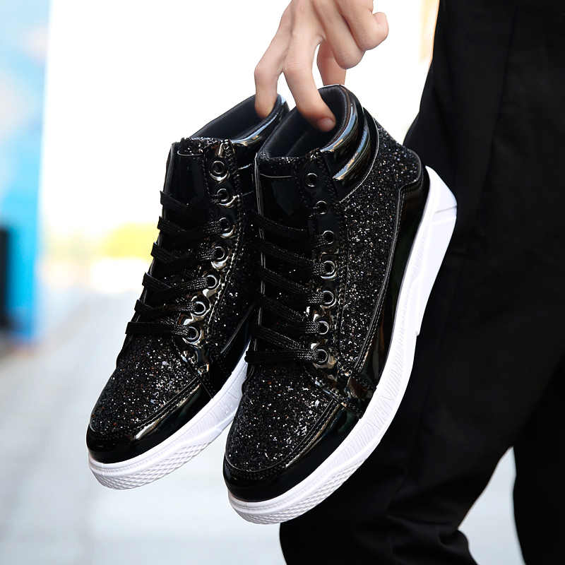 Nowi mężczyźni hip-hopowe obuwie męskie skórzane złoto srebrne modne trampki męskie wysokie obcasy wiązane buty Krasovki