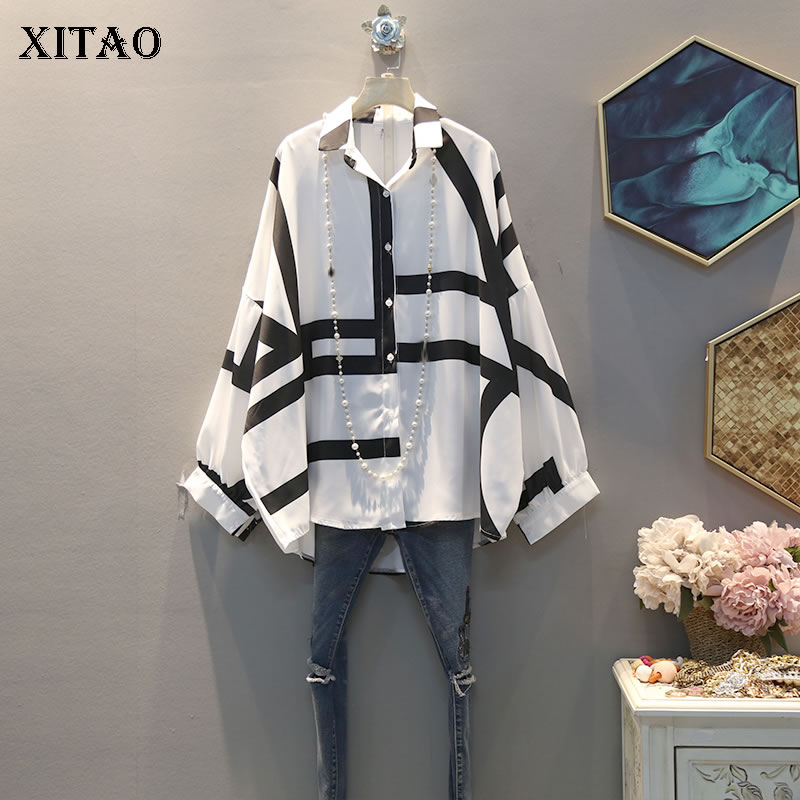 XITAO 2020 Spring New Womens Tops And Blouses Korean Style Leisure Line Pattern Plus Size Women Clothes Fashion Shirt GCC3232