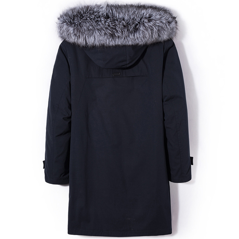 Real Fur Coat Winter Jacket Men Plus Size Real Rex Rabbit Fur Coat Fox Fur Collar Parka Jackets Warm Coat G1906 YY1039