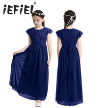 iEFiEL Flower Girls Dress Kids Chiffon Wedding Pageant Summer Princess Party Ball Gown Tulle Dresses Children Teenage Clothes