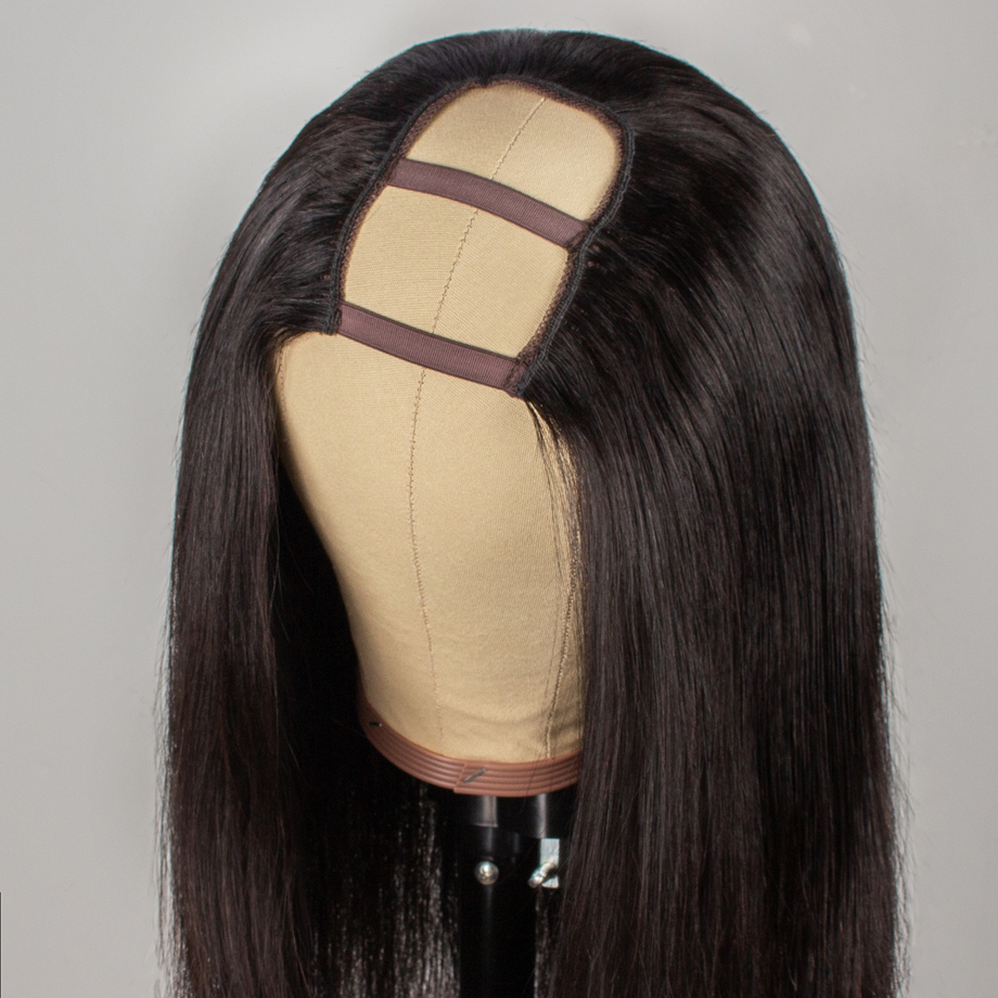 Dollface Short Human Hair Wigs U Part Wigs Straight Hair For Black Women Natural Color Brazilian Wig