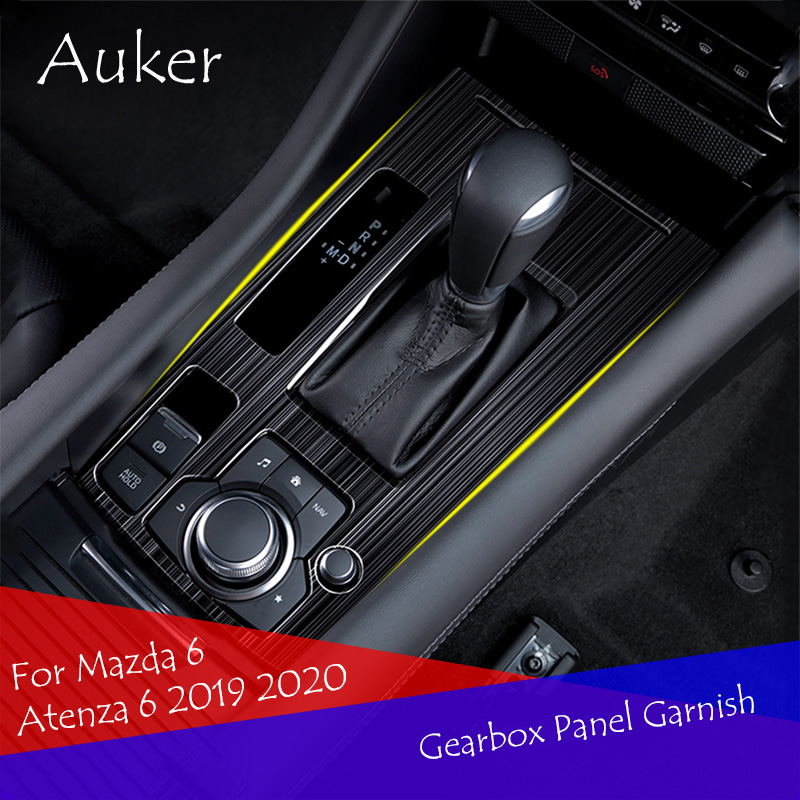 Car Console Gearbox Frame Trim Sticker Strips Car Decoration Stainless Steel Black Titanium For Mazda 6 Atenza 6 2019 2020