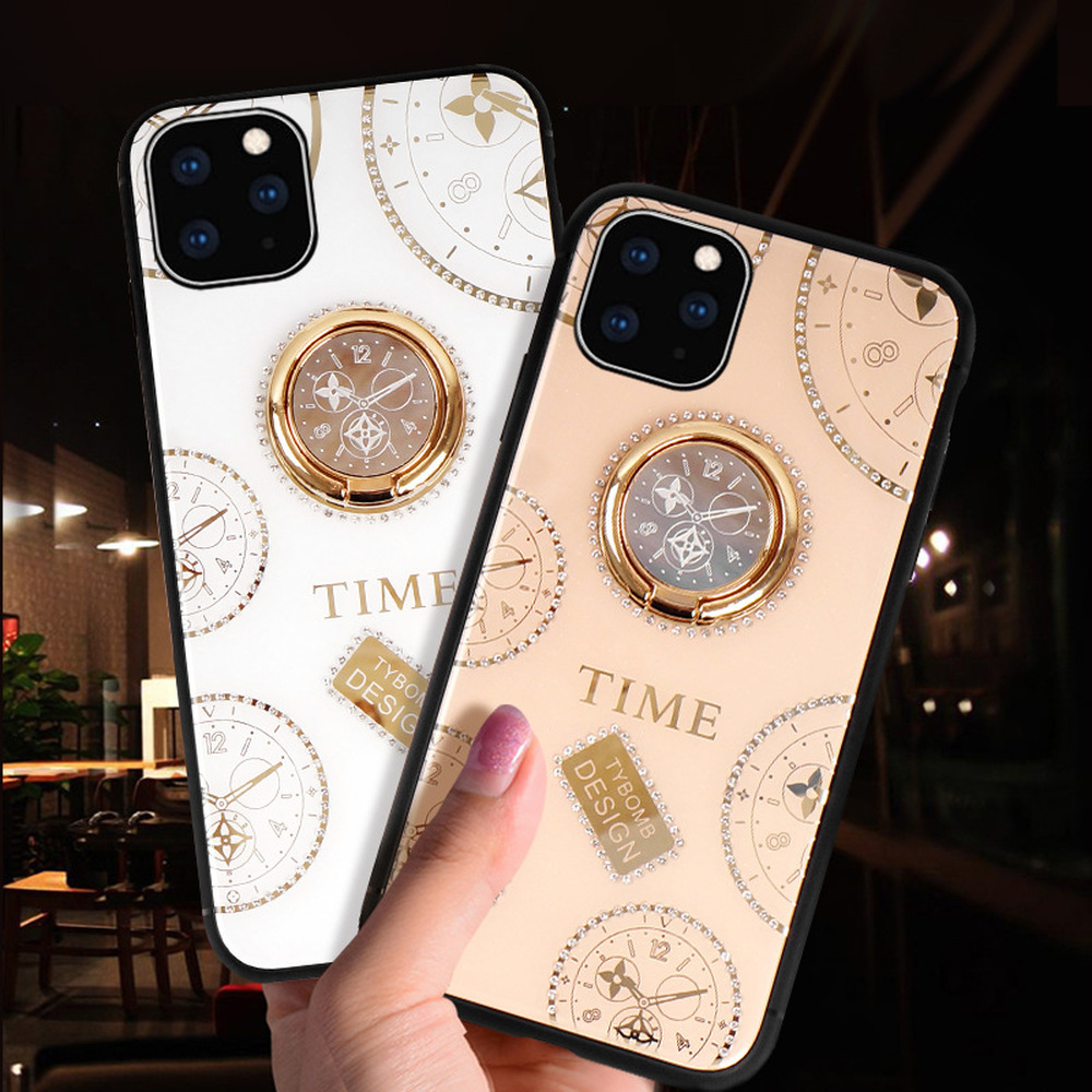 Glitter Glass Phone Case for Iphone 11 Pro Case XS MAX XR X 8 7 PLUS 7 6 6S Luxury Clock Cover 360 Degree Metal Ring Holder Case