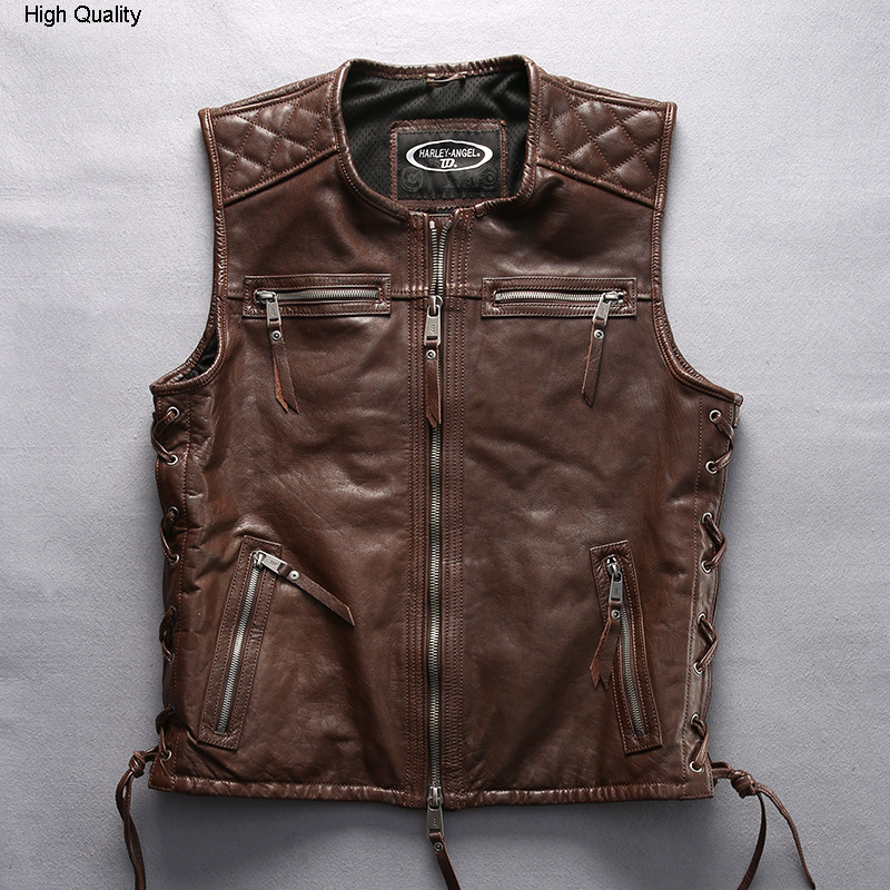 2020 men's o-neck genuine leather vest with letter embroidery brand sleeveless motorcycle leather jacket men biker vest male