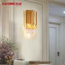 Gold Crystal Wall Lamps LED Luxury Bedroom Wall Light For Living room Bedside Reading Corridor Modern Stairs lampara pared
