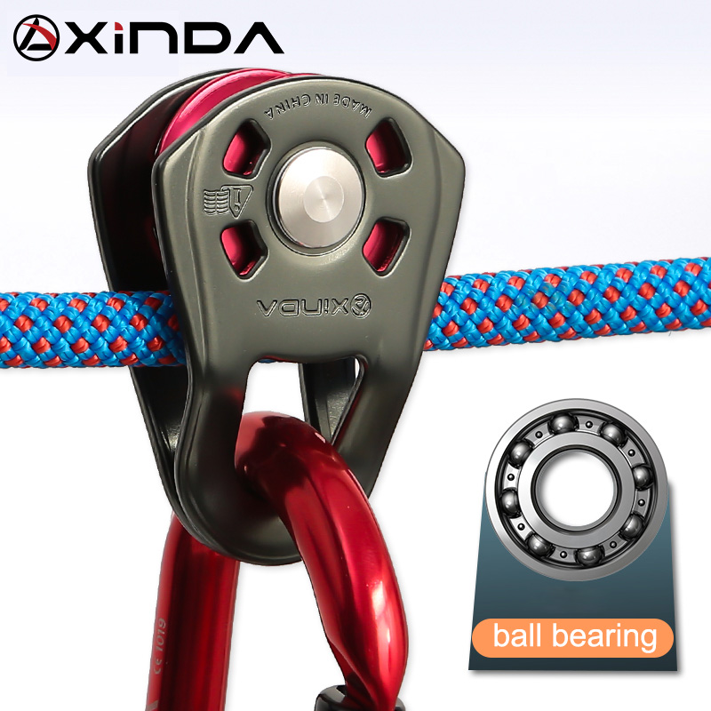 XINDA Professional Small Single Pulley Gear Ball Bearing Mountaineering Rock Climbing Zipline Traverse-solving Carriage Pulley