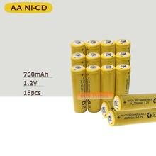 15 x AA 700mAh 1.2 V Quanlity akumulator NI-CD 1.2 V akumulator 2A Bateria baterie baterie 500 razy