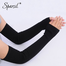Sparsil New Cashmere Long Sleeve Gloves Protection Elbow Wool Knit Thick Glove Fingerless Mittens Female Arm Warmers 50cm