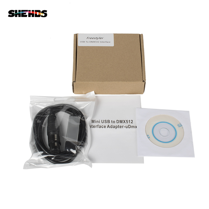 SHEHDS Fast Shipping USB to DMX Lnterface Adapter LED DMX512 Computer PC Stage Lighting Controller Dimmer