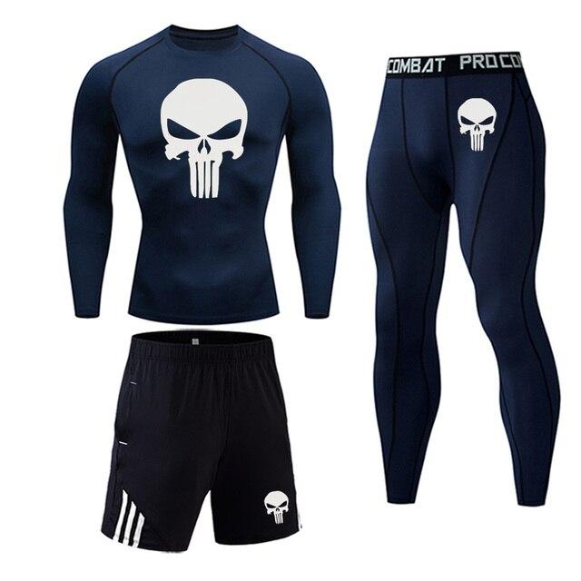 3 Piece Men's Full Suit Tracksuit MMA Tactics winter thermal underwear Skull rashgard Male Compression sport Tights jogging suit 3