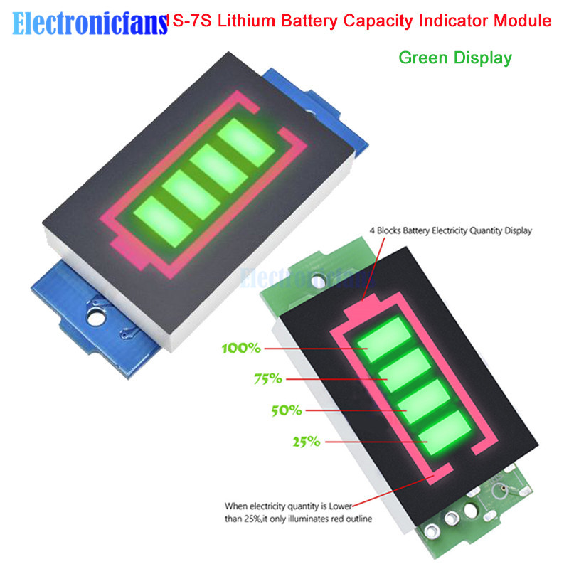 1S/<font><b>2S</b></font>/3S/4S/5S/6S/7S Series Lithium <font><b>Battery</b></font> Capacity <font><b>Indicator</b></font> Module 4 Level Electric Vehicle <font><b>Battery</b></font> Power Tester Li-po Li-ion image