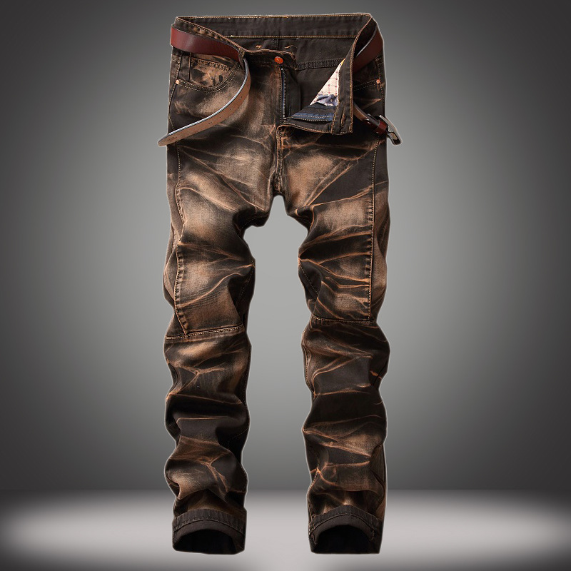 Men's Jeans Four-color Trousers Old Straight-tube Retro Jeans Men Plus Size Straight Jeans Male Distressed Denim Biker Jeans