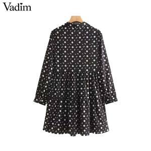 Image 2 - Vadim frauen vintage floral print mini kleid lange hülse weibliche beiläufige gerade kleider vestidos mujer QC842
