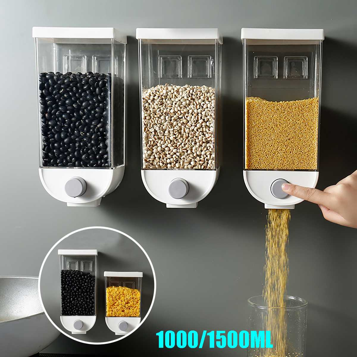 1500ML/1000ML Kitchen Wall-mounted Oatmeal Cereal Storage Box Dispenser Sealed Food Storage Container Snack Storage Tank Grain