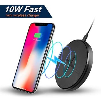 NILLKIN ปุ่ม 10W fast Qi Wireless Charger สำหรับ Samsung หมายเหตุ 10/S10/S8 Mini Wireless Charging Pad สำหรับ iPhone X/8/XR สำหรับ Mi 9